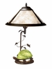 Dale Tiffany Lighting (TT10840) Mica Green Turtle Table Lamp shown in Antique Bronze Finish