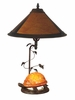 Dale Tiffany Lighting (TT10841) Mica Amber Orange Turtle Table Lamp shown in Antique Bronze Finish