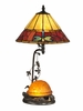 Dale Tiffany Lighting (TT12472) Amber Turtle Table Lamp with Night Light shown in Antique Bronze Finish
