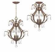 Dawson Collection 3 Light Mini Chandeliers with Hand Polished Crystals shown in Antique Brass by Crystorama Lighting