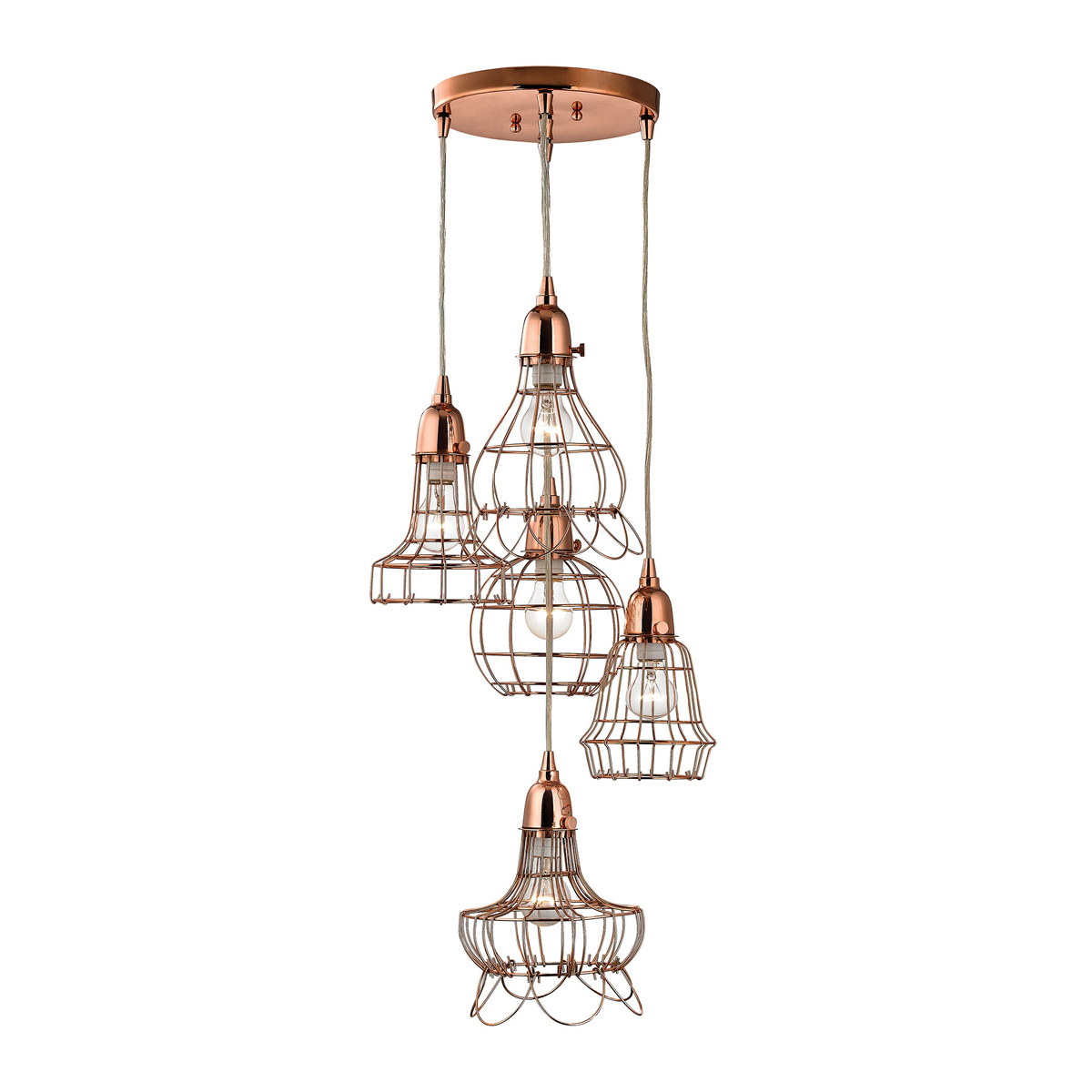 dimond lighting d2737 copper 5 wire pendant light