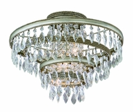 Diva Interior 3 Light Semi-Flush Ceiling Mount shown in Silver Leaf with Gold Lining by Corbett Lighting