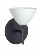 Domi 1 Light Wall Sconce Vanity shown in Bronze with White Glass Shade by Besa Lighting