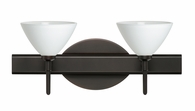 Domi 2 Light Wall Sconce Vanity shown in Bronze with White Glass Shade by Besa Lighting