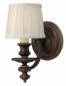 Hinkley Lighting (4590RY) Dunhill Single Light Wall Sconce in Royal Bronze with Off-White Pleated Fabric Shade