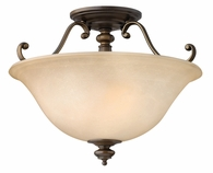 Hinkley Lighting (4591RY) Dunhill 2-Light Semi-Flush Mount in Royal Bronze with Vintage Faux Alabaster Shade