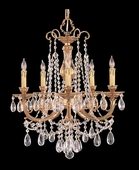 Etta Collection 5 Light Mini Chandeliers with Hand Polished Crystals shown in Olde Brass by Crystorama Lighting