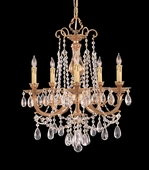 Etta Collection 5 Light Mini Chandeliers with Swarovski Elements Crystals shown in Olde Brass by Crystorama Lighting