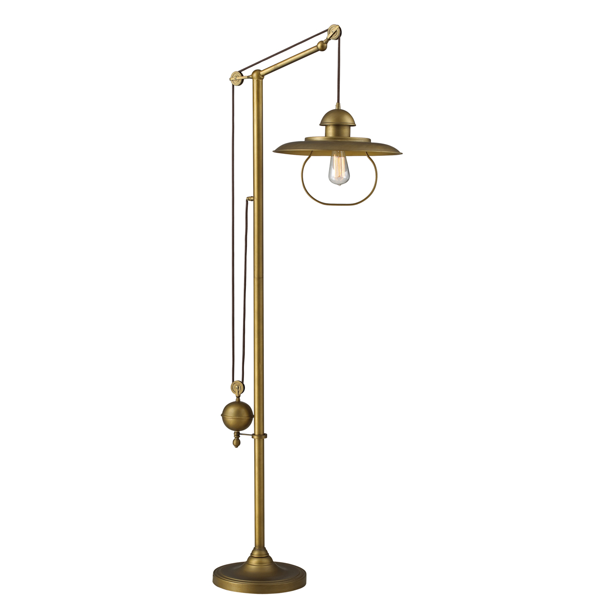 Landmark Lighting 1 Farmhouse Antique Brass Floor Lamp in Antique Bra