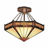 Landmark Lighting (621-AB) Filigree 3 Light Semi Flush in Aged Bronze Finish