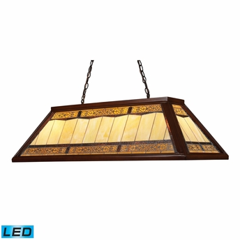 Landmark Lighting (70112-4-LED) Tiffany Game Room Lighting 4 Light Billiard/Island Light in Dark Mahogany Wood Finish