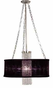 Framburg Lighting - Angelique Dining Chandeliers in Polished Silver w/ deep eggplant sheer shade - FBG-1955