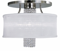 Framburg Lighting - Angelique Flush Mounts and Semi-Flush Mounts in Polished Silver w/ white sheer shade - FBG-1951
