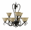 Framburg Lighting - Black Forest Dining Chandeliers in Ebony w/ Amber Marble - FBG-9159
