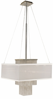 Framburg Lighting - Gymnopedie Dining Chandeliers in Polished Silver w/ white sheer shade - FBG-2116