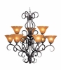 Framburg Lighting (1759) Nine Light Chandelier from the Black Forest Collection