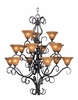 Framburg Lighting (1765) 15-Light Black Forest Foyer Chandelier