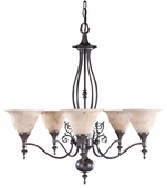 Framburg Lighting - Provence Dining Chandeliers in Mahogany Bronze/Amber Marble - FBG-9425