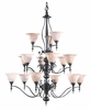 Framburg Lighting (9435) 15-Light Black Forest Foyer Chandelier