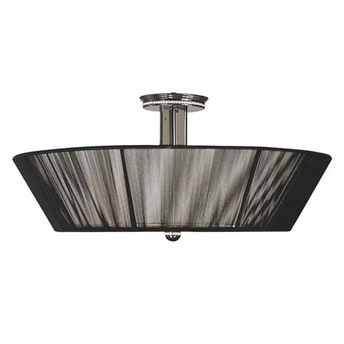 Framburg Lighting - Sophia Flush Mounts and Semi-Flush Mounts in Polished Silver  w/ Ebony Accents - FBG-1017