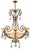 Fredrick Ramond (FR44100FRM) Barcelona 3-Light Chandelier in French Marble with Tinted Natural Alabaster Shade