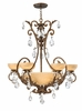 Fredrick Ramond (FR44102FRM) Barcelona 6-Light Chandelier in French Marble with Tinted Natural Alabaster Shade