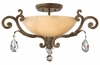 "Fredrick Ramond (FR44104FRM) Barcelona 23.5"" Semi-Flush Mount in French Marble with Tinted Natural Alabaster Shade"
