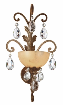 Fredrick Ramond (FR44110FRM) Barcelona Single Light Wall Sconce in French Marble with Tinted Natural Alabaster Shade