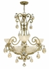 Fredrick Ramond (FR44100SLF) Barcelona 3-Light Chandelier in Silver Leaf with Natural Alabaster Shade