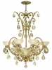 Fredrick Ramond (FR44102SLF) Barcelona 6-Light Chandelier in Silver Leaf with Natural Alabaster Shade