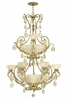 Fredrick Ramond (FR44107SLF) Barcelona 9-Light Foyer Chandelier in Silver Leaf with Natural Alabaster Shade