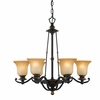 Quoizel Lighting (GE5006SE) Genova 6 Light Chandelier in Stonehedge Finish