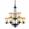 Quoizel Lighting (GE5009SE) Genova 9 Light Chandelier in Stonehedge Finish