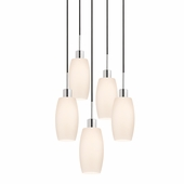 Glass Pendants-Barrel 5-Light Pendant shown in Polished Chrome by Sonnemen Lighting