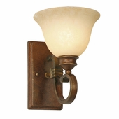 Golden Lighting (GLDN-3711-1W) Rockefeller 1 Light Wall Sconce shown in Champagne Bronze with Tea Stone Glass