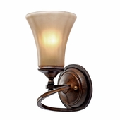 Golden Lighting (GLDN-4002-1W) Loretto 1 Light Wall Sconce shown in Russet Bronze with Riffled Tannin Glass