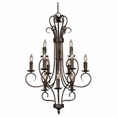 Golden Lighting (GLDN-8512) Multi-Family 3 Tier - 12 Light Candelabra Chandelier shown in Rubbed Bronze with Drip Candlesticks