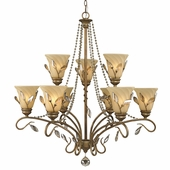 Golden Lighting Beau Jardin 2 Tier Chandelier in Rose Gold Finish 5400-9-RG