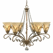 Golden Lighting Beau Jardin 6 Light Chandelier in Rose Gold Finish 5400-6-RG
