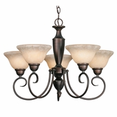 Golden Lighting Centennial RBZ 5 Light Chandelier in Rubbed Bronze Finish 1395-RBZ
