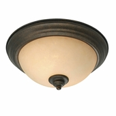 "Golden Lighting Heartwood 13"" Flush Mount in Burnt Sienna Finish 8063-13-BUS"