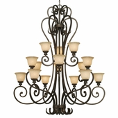 Golden Lighting Heartwood 3 Tier Chandelier in Burnt Sienna Finish 8063-15L-BUS