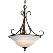 Golden Lighting Homestead Ridge Pendant Bowl in Rubbed Bronze Finish 8505-3P-RBZ