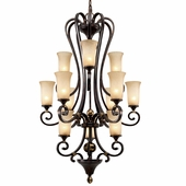 Golden Lighting Portland 3 Tier Chandelier in Fired Bronze Finish 3966-363-FB