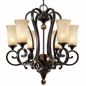 Golden Lighting Portland 6 Light Chandelier in Fired Bronze Finish 3966-6-FB