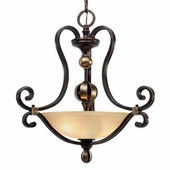 Golden Lighting Portland Pendant Bowl in Fired Bronze Finish 3966-3P-FB