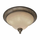 "Golden Lighting Rockefeller FI 17"" Flush Mount in Forged Iron Finish 2488-17-FI"