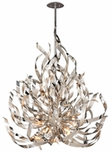 Corbett Lighting (154-412) Graffiti 12 Light Extra Large Pendant shown in Silver Leaf and Polished Stainless Finish