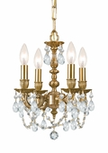 Gramercy Collection 4 Light Mini Chandeliers with Swarovski Spectra Crystals shown in Aged Brass by Crystorama Lighting