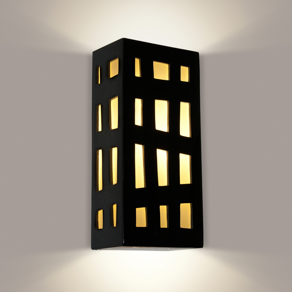 Grid Wall Sconce 1 Light Fixture Shown In Black Gloss And White Frost By A19